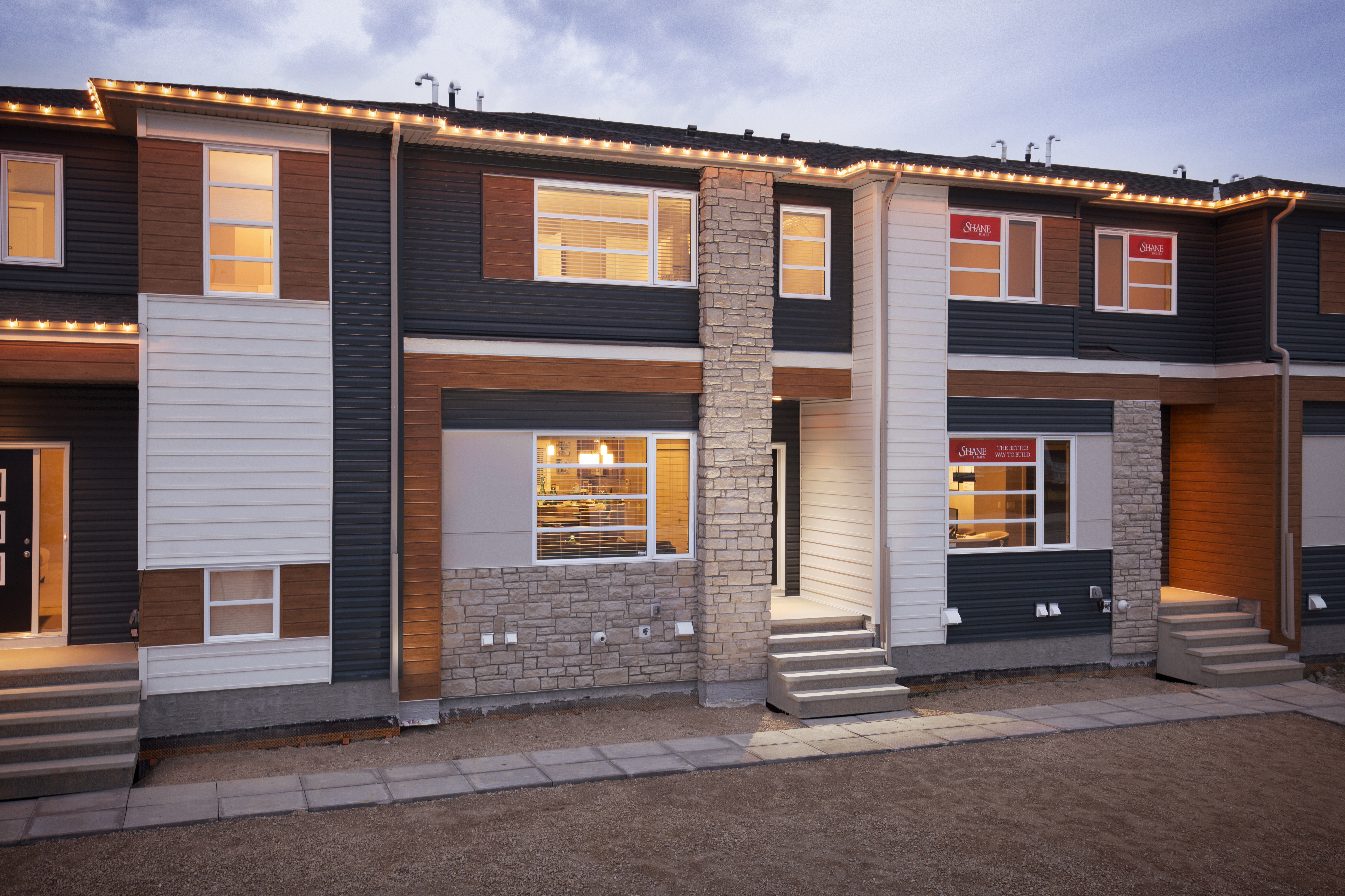 the exterior of the shane home street-oriented townhomes.