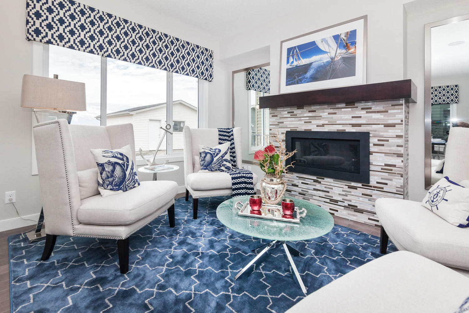 fireplace and sitting room in the pacesetter zero lot line home
