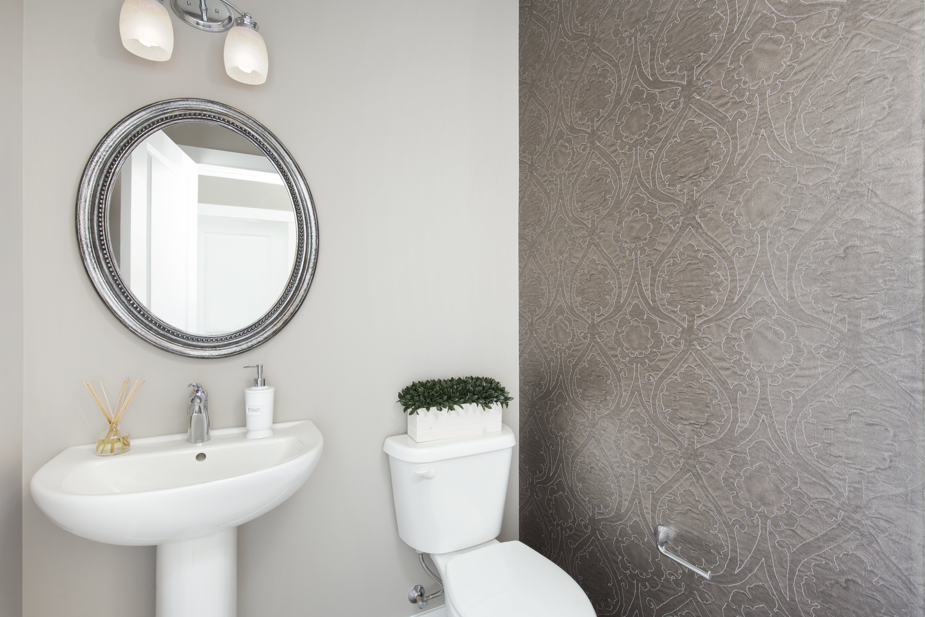 example of a bathroom option in the shane front drive homes at cornerstone community.