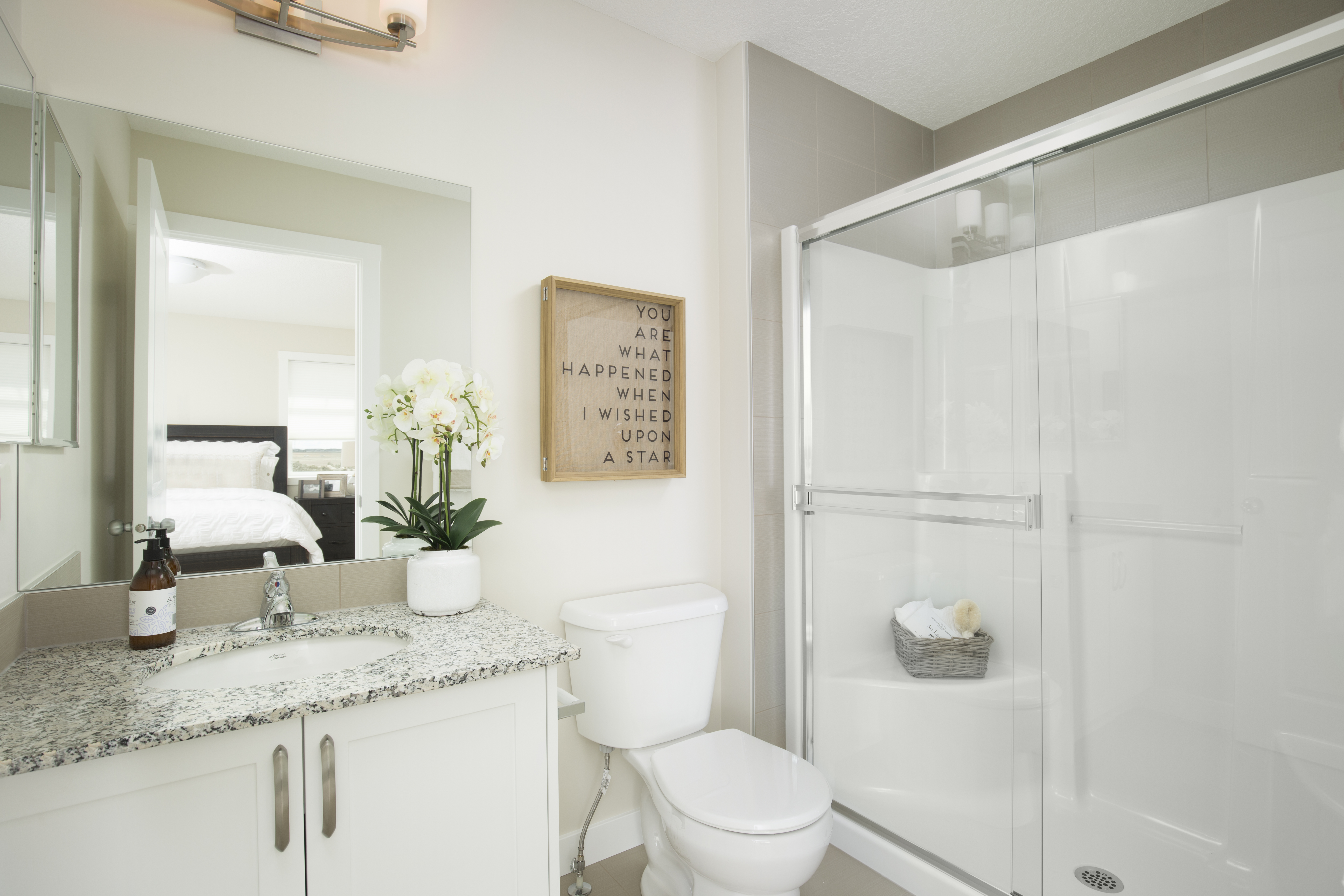ensuite bathroom with large shower in the shane home street-oriented townhome.
