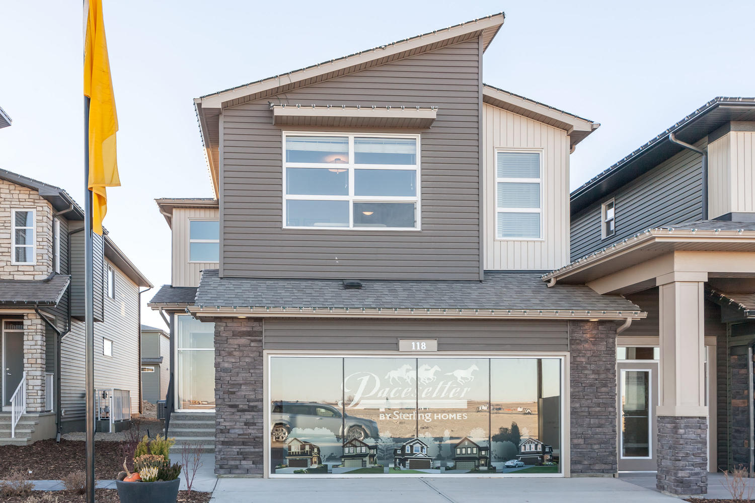 the pacesetter front drive home show home in the cornerstone community calgary northeast.