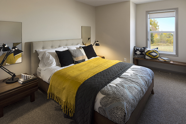 the master bedroom of the beckett duplex model by morrison homes.