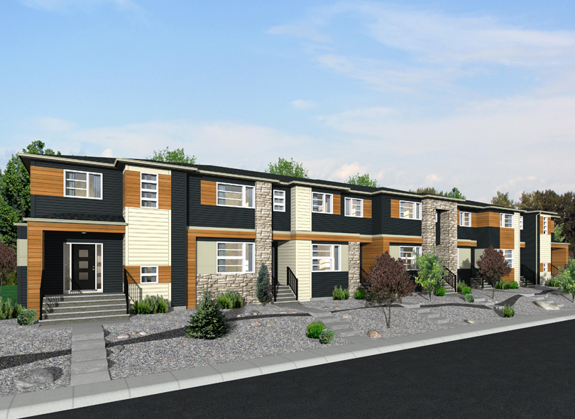 street view of the exterior of shane homes street-oriented townhomes.
