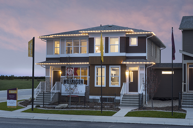 exterior view of the morrison duplex homes at dusk.