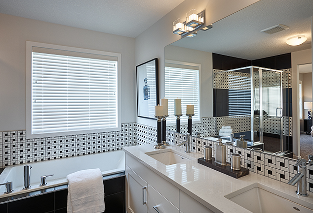 his and her sinks with luxury bathroom in the morrison front drive show home.