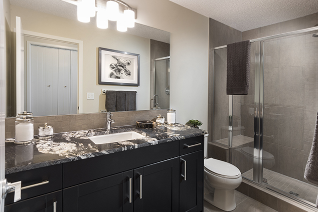 large bathroom with shower in the morrison duplex home.