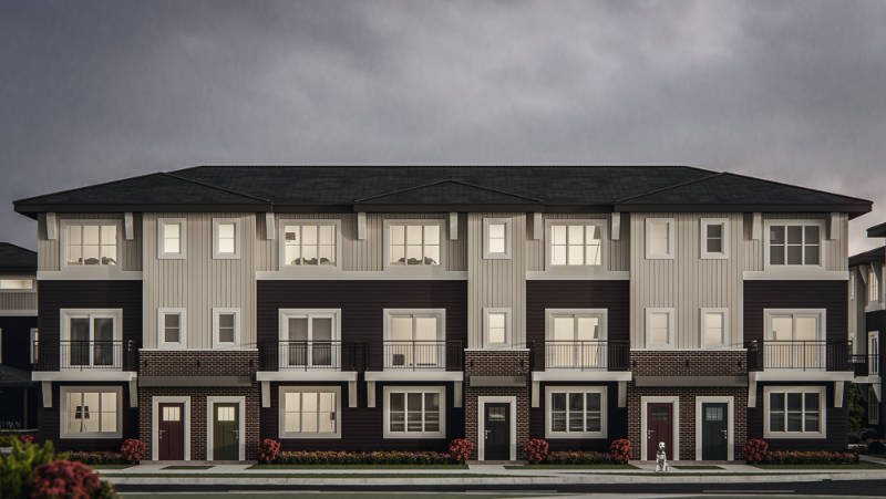 front street view of the yorke townhome's exterior with street entrances.