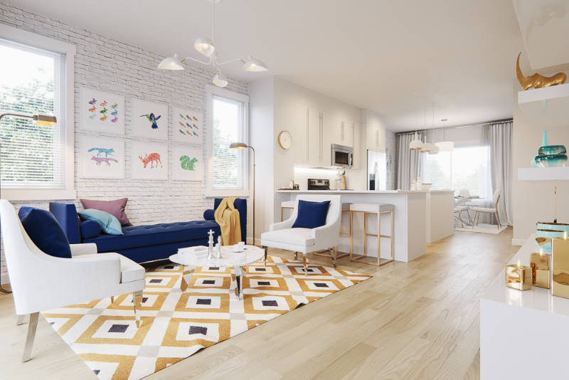 yorke townhome layout from the corner of the living room to the open concept kitchen.