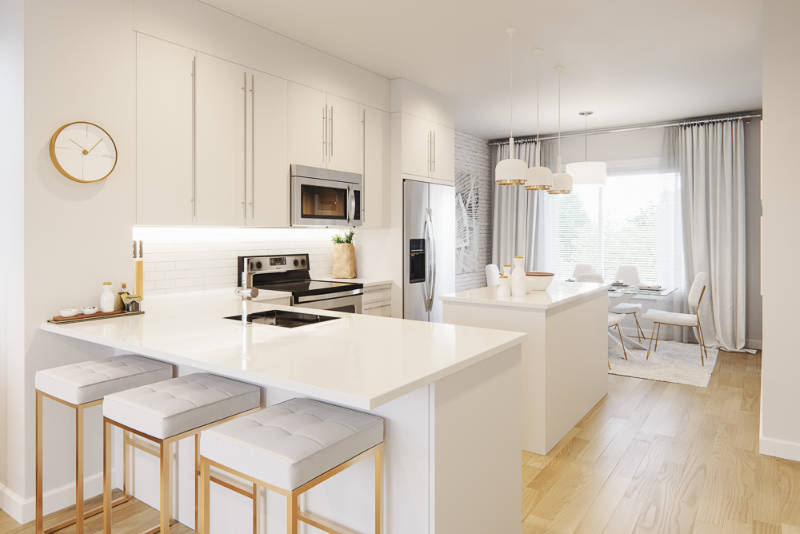 possible kitchen layout and design for yorke townhomes with white counter tops.