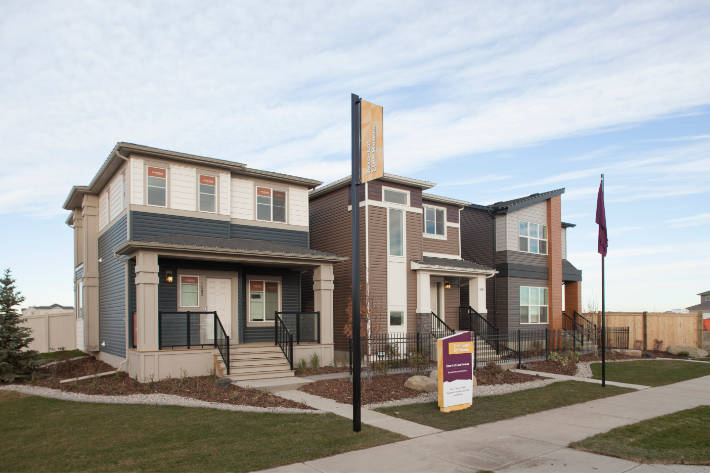 rear-laned single family showhomes in cornerstone community.