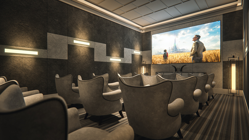 the movie theater, one of the many amenities in Legends Apartments at Cornerstone