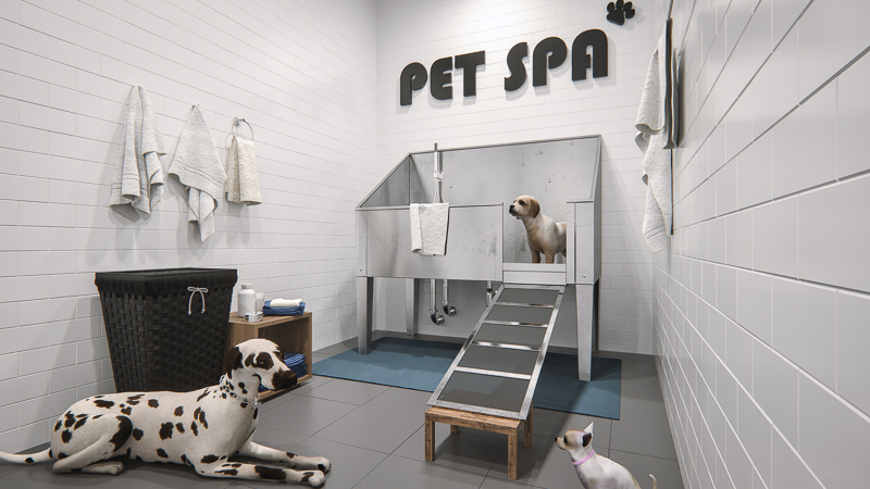 the pet spa, one of the many amenities in Legends Apartments at Cornerstone