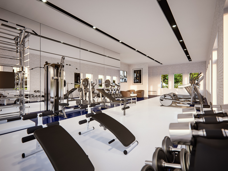 the world-class gym, one of the many amenities in Legends Apartments at Cornerstone