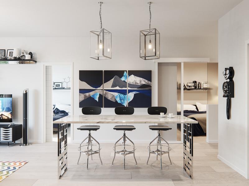 dining room area design in the legends condominiums at cornerstone in calgary northeast