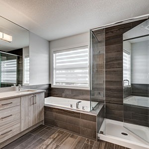 The master bathroom in the Luxuria townhome home type