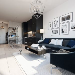 the living room of the Legends Condominium Show Suite in New York style palatte