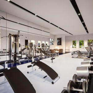 The gym facilities in the Legends Condominium Apartments