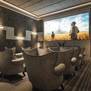 The entertainment room in the Legends Condominium Apartment
