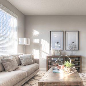 The living room of the Truman Duplex Show Home
