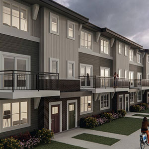 the outside view of the Yorke Townhomes complex