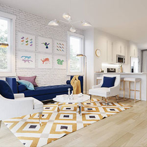 The living room of the Yorke Townhome Show Home