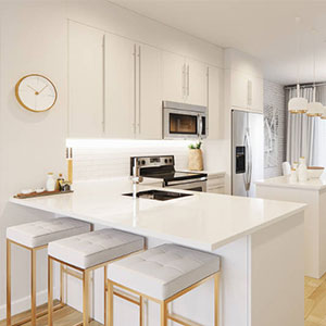 The breakfast bar in the Yorke townhome show home